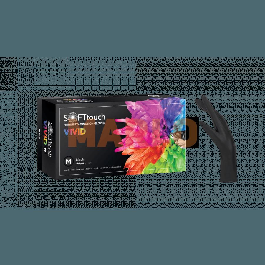 Soft Touch Нитрилни Vivid ръкавици 100 бр – Черни