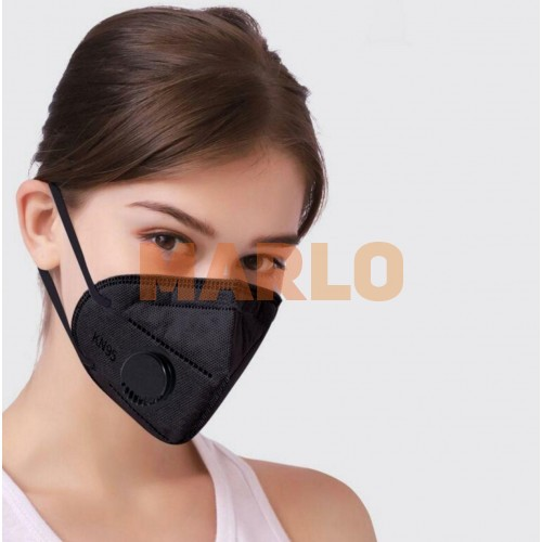 Противовирусна маска N95 с клапа черна